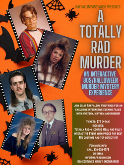 Halloween 80s Theme Murder Mystery Dinner - October 31st 6:00pm-9:00pm