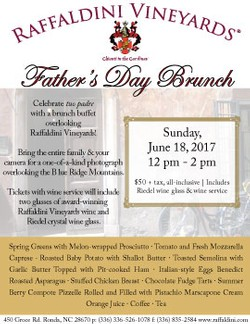 Father's Day Brunch Wine: June 18, 2017, 12 - 2pm