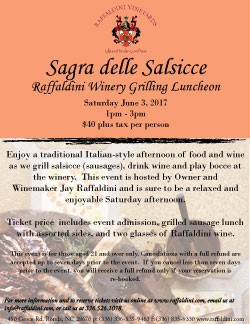 Sagra Delle Salsicce: Sausage Grilling Luncheon at the Winery, Sat. June 3, 2017