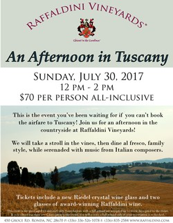An Afternoon in Tuscany - July 30, 2017; 12-2 pm