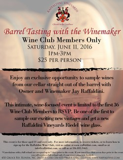 Barrel Tastings with the Winemaker - Wine Club Exclusive! July 22nd, 2017