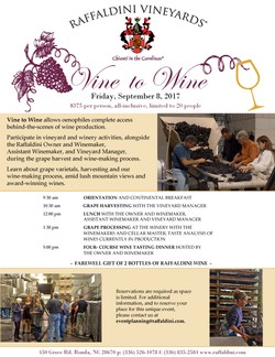 Vine to Wine: Friday, September 8, 2017; 9:30am-7pm